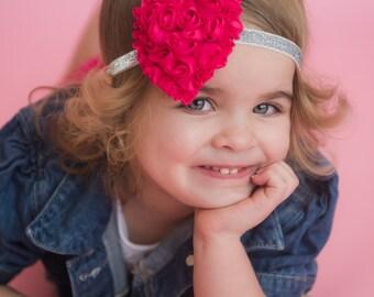 Pink Heart Headband, Valentines Day Headband, Pink Headband, Heart Headband, Pink Bow Headband, Flower Heart Headband, First Valentines Day