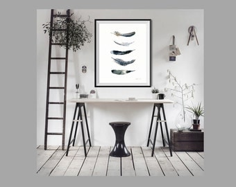 Feather art print from original watercolor painting - 5 Bird feathers - hand painted watercolor print. Black Feathers by TheClayPlay. Giclee