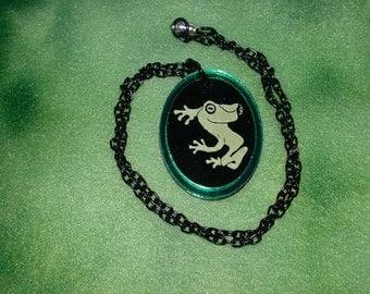 Spiritmouse stylized Tree Frog pendant necklace lazer cut acrylic  Green mirror Tree frog oval