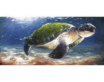TURTLE ARTWORK - sea turtle print, turtle painting, turtle decor, turtle home decor, bathroom decor, bathroom art, beach decor, beach art