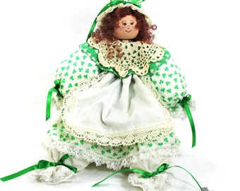 Restored Irish Lass Shelf Sitter Doll, Irish Decor, St Patrick's Day Decor