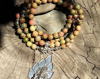 UNAKITE & PYRITE Mala Beads with GANESH, Ganesha   108 Bead Crystal Mala for Heart Chakra, 4th Chakra   Yoga Meditation Beads Mayan Rose