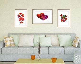 Watercolor hearts Print, love wall art, 3 prints set, valentines day, Giclee print, Silhouette Art, Home Decor, Wall Art, housewarming gift