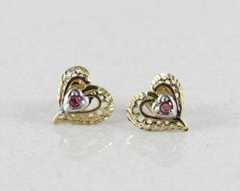 10k Yellow Gold Natural Ruby Heart Stud Earrings