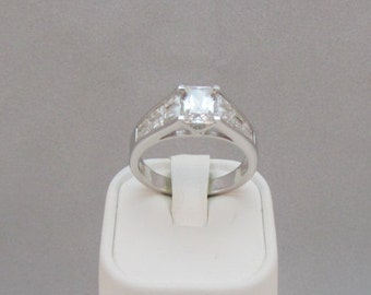 Sterling Silver CZ Ring cubic zirconium Ring  size 10