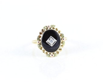 10k Yellow Gold Onyx and Diamond Ring Antique Victorian Edwardian Ring Size 6 3/4