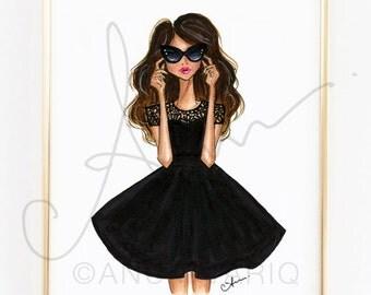 "Fashion Illustration Print, Black Flare Dress, 8x10"""