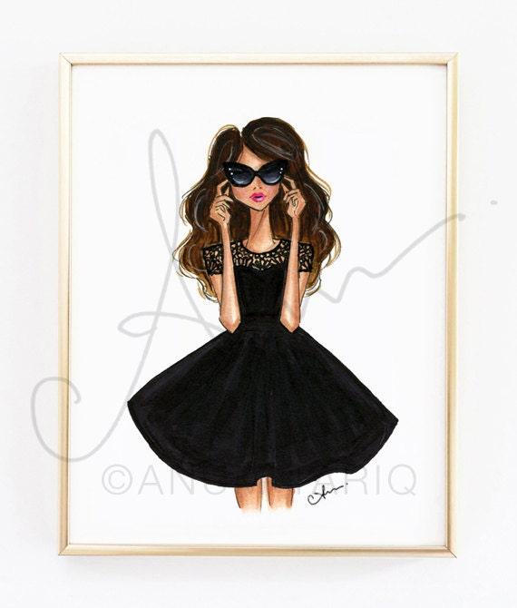 """Grabado de la ilustración de moda, negro llamarada vestido, 8 x 10"""""""