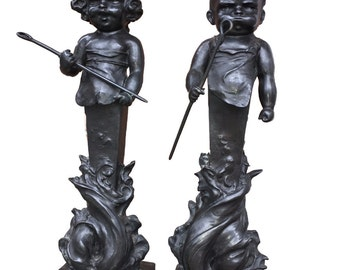 Henry Linder Bronze Art Nouveau Boy & Girl Andirons, Art Nouveau Andirons, Art Nouveau Sculpture, American Art Nouveau, Art Nouvea Chenets