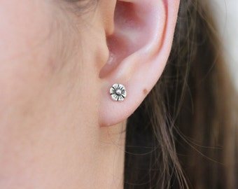 Flower Stud Earrings, Sterling silver chery blossom earrings, children earrings, toddler tiny stud earrings, simple earring everyday jewelry
