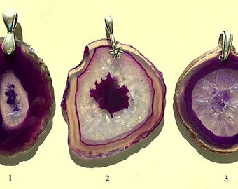 Crystal Druzy Agate Geode Slices Pendants/Necklace - Purple/Lavender and Crystal White With Sterling Silver Chain