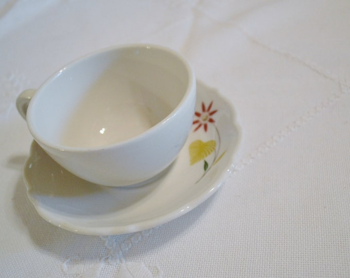 Vintage Syracuse China Restaurant Ware Cup and Saucer Pink Flower Palm Leaf Tropical Design  Panchosporch