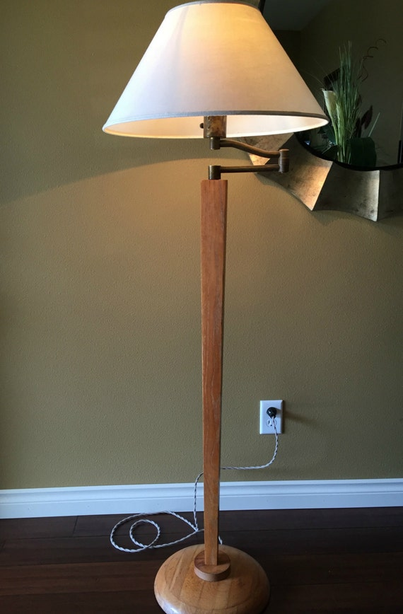 Swing Arm Lamp Antique Floor Lamp Oak Lamp Craftsman Lamp