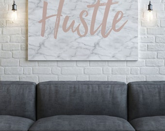 Hustle Art Print, Printable Art, Faux Gold Foil, Marble Print, Pink and White, Instant Download, Printable Art, Motivational, Marble Decor