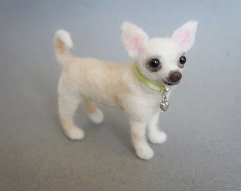 Custom Pet Portrait, Needle Felted Dog Chihuahua, Felt Chihuahua, Felt Dog, Felted Animal, Mother's Day Gift, Blythe Accessory,Miniature Dog