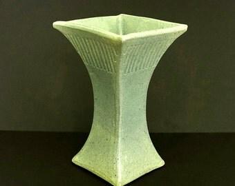 Ceramic vase, square vase, tall vase, green vase, large vase, handmade