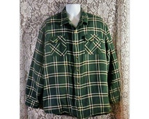Vintage Quilted Flannel Shirt, Thick Flannel, Insulated Flannel, Green Plaid Flannel, Grunge Shirt, Mens Hipster Flannel - Mens Size 2XL