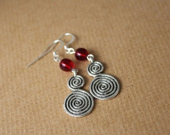 Red Earrings, Red Celtic Double Spiral Silver Earrings, Silver Spirals, Silver Earrings, Gypsy Earrings, Celtic Jewelry, Gypsy Soul Style