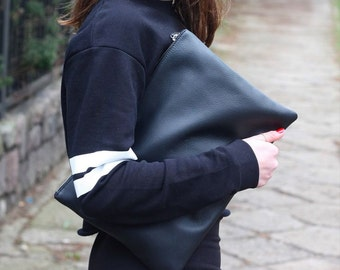 Oversized Black Leather Clutch | Porfolio Case