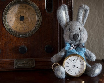 "Needle felted stuffed bunny rabbit Fiber Art Sculpture  ~ ""Roger the Bunny"""