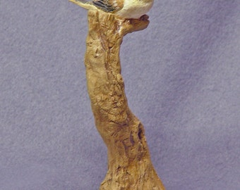 Handmade Ceramic Bird on a Tree in Stoneware with Glaze - Bird Sculpture, Bird Figurine, Ceramic Art