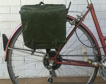 Czech Military Surplus Rubberized Shoulder Bag Vintage Bicycle Pannier