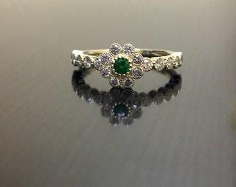 Art Deco Emerald Diamond Engagement Ring - 14K Yellow Gold Diamond Emerald Wedding Ring - Halo Diamond Emerald Ring - 14K Diamond Ring