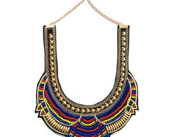 SALE Blue Tribal Statement Necklace