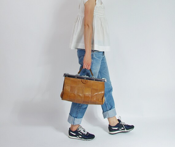 SALE - 70/80s Patchwork Honey Brown Leather Doctor's Hand Bag