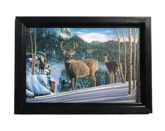 Deer Picture, Morning View Deer, Kim Norlien, Art Print, Country Decor, Wall Hanging, Handmade, 21x15, Custom Wood Frame, Made in the USA