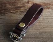 Keychain 02 / Reddish Brown  Genuine Leather, Key Holder, Key Fob, Leather Strap,