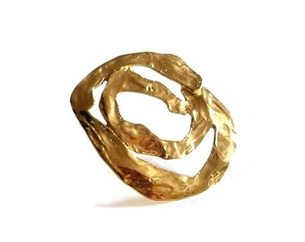 YVES SAINT LAURENT ~ Authentic Vintage Abstract Gold Plated  Brooch