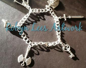 Medieval Knight Themed Silver Bracelet with Axe, Helmet, Bow & Arrow, Shield, Sword and Key