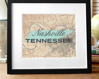 Nashville Map Print, Tennessee Print, TN Map Print, Nashville Tennessee Print, Nashville Map Art