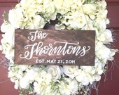 family name / last name sign / established sign / housewarming sign / wedding date / front door sign / personalized gift / wedding gift.