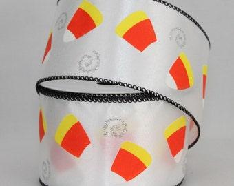 10 yards Candy Corn Halloween Wire Edge Ribbon - Ribbon for Wreaths, Halloween Wreath Ribbon