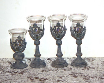 Metal Filigree Toasting Goblets, Candle Holder, Votive Holder, 4 Choices, made in Italy 1970s - Weddings, Special Events, Home Decor