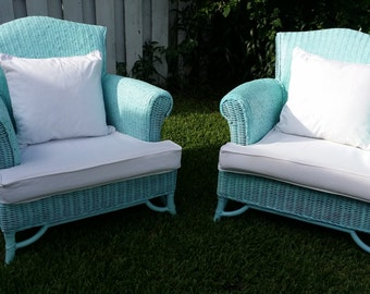 Wicker Aqua Color Patio Porch Back Yard Chairs Furnitures