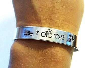 Triathlon Bracelet - Triathlete Jewelry - Swimming - Cycling - Running - Hand Stamped - Ironman - Swim Bike Run Gift - Triathlon Jewelry