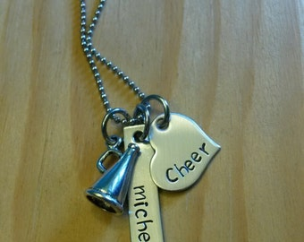 Hand Stamped Personalized Cheer Necklace - Cheerleading Necklace - Cheer Squad Team Gift - Cheerleader Necklace - Cheerleade