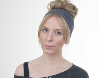 Charcoal Grey Lace Headband, Wide Lace stretchy Headband Hairband, Rustic Wedding, Elastic Headband, Womens Headband