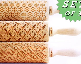 Rolling Pin engraved 3 patterns ! SET of ANY 3 Rolling Pins Choose any 3 rolling pin you want ! Birthday gift Spring Collection !