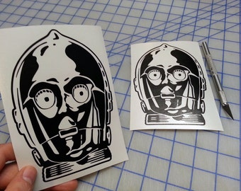 C3PO decal.. Star Wars Inspired C3PO decal.. C3P0 decal..  Star Wars decal.. C3PO sticker.. C3PO Vinyl decal..