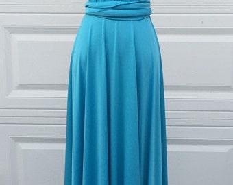 Cerulean blue Bridesmaid Dress Wrap dress Convertible Infinity Dress Evening Dress-B24#C24#