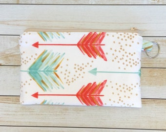 Coral And Teal Arrows Zipper Coin Purse, Zipper Coin Pouch Keychain Wallet Phone Pouch