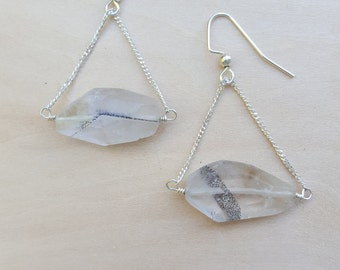 Tiny Lepidocrocite Quartz Crystal Dangle Earrings with Natural Inclusions