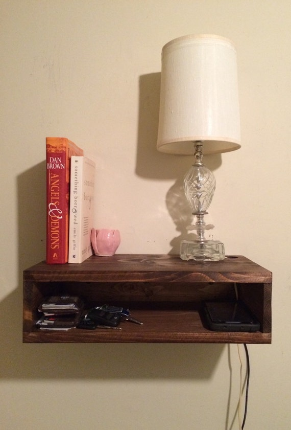 Floating Bedside Table Rustic Nightstand Barn Wood Style