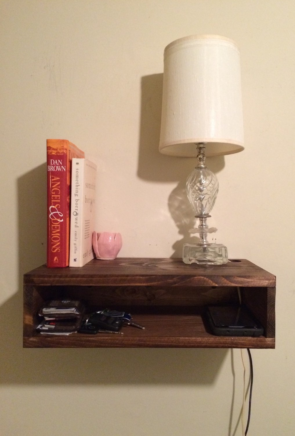 Floating bedside table rustic nightstand barn wood style for Floating nightstand