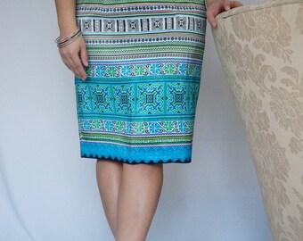 Hmong Print Skirt in Sky Blue