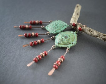 Tribal earrings • Bohemian Rustic • oxidized verdigris • red glass • hand forged copper • gipsy chandelier earrings • ethnic chic